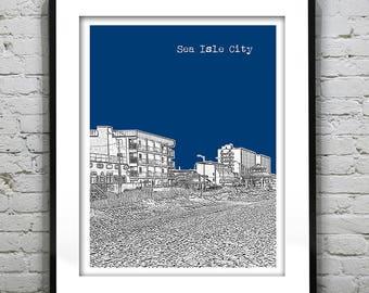 20% OFF Memorial Day Sale - Sea Isle City New Jersey Shore Poster Print Art NJ Skyline Jersey Shore Version 7