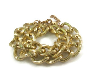 Gold Chain Bracelet Simple Textured Gold Tone Double Chain Bracelet