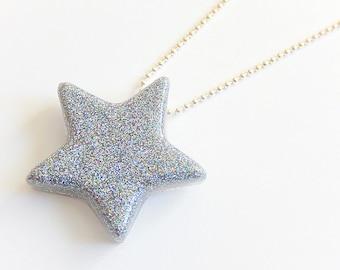 Large Silver Star Necklace, Glitter Resin Pendant, Rave Jewelry, Festival Wear