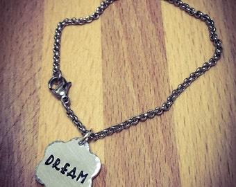 Dream Hand Stamped Bracelet. Stainless Steel, Flower Bracelet, Flower Jewellery, Inspirational Bracelet, Dream Bracelet, Dream Jewellery