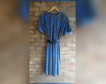 Vintage blue leopard print belted dress