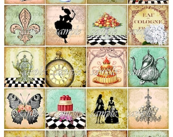 Come for Tea Digital Collage Sheet 2 inch Squares Victorian Teapot Teacup Silhouettes Magnets Coasters Decoupage Printable Instant Download