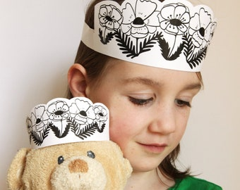 Poppies Crown Printable - flower headband kids craft - birthday crown - kids dress up craft - teddy bear picnic - black white printable