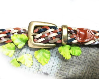 multi-color belt - leather woven belt - braided belt - fashion belt - adjustable belt - woven leather belt - waist up to 36 inches  # B 23