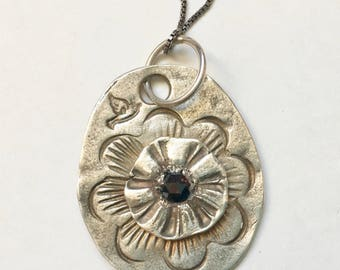 new sterling stamped pendant with brown diamond