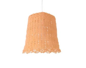 Crochet Hanging Lamp Shades in a Warm Tangerine Color
