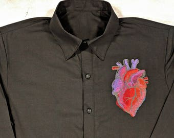 Anatomical Heart, Heart, Anatomy, Embroidered, Button Down shirt, short or long sleeve, Med to 3xl, Navy or Black