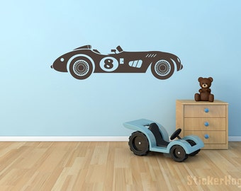 "Vintage Race Car Wall Decal Number 8 for Boys or Childs Room Vinyl Wall Decal for Home Decor 30""x8"""