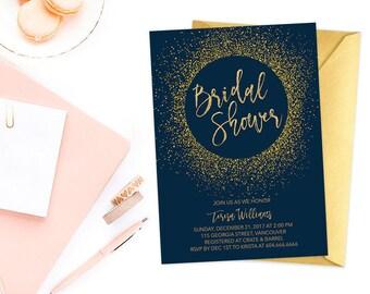 Navy Gold Bridal Shower Invitation, Bridal Shower Invitation, Gold Glitter Bridal Shower Invite, Navy Gold Bridal Shower Invite