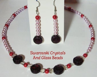 "Pink and Red 18.5"" beaded necklace with earrings - Swarovski Crystals and glass beads - Red and pink necklace set - Etched dark red beads"