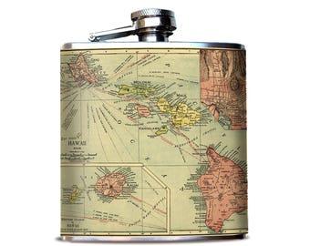Aloha Hawaii Antique Map Flask, Vintage Hawaii Flask, Hawaiian Islands, Oahu, Maui, Island Adventure