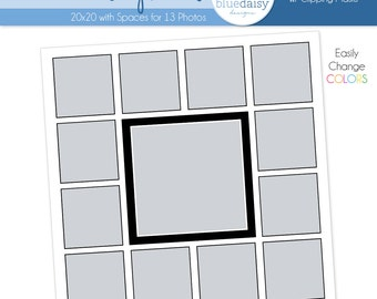 20 x 20 Storyboard with 13 Square Openings - Photographer Photoshop Template