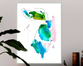 Blue Green Painting Extra Large Canvas Abstract Giclee Watercolor Turquoise Greenry Blush Pink Custom Kitchen Dining Room Fine Art Line Pen