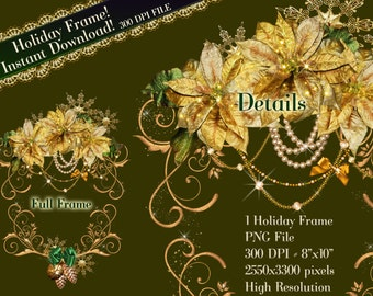 Holiday Clipart, Christmas Frame Clip Art, Holiday Graphics, Poinsettia Frame