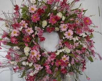 Spring wreath, Mothers Day wreath, spring door wreath, front door wreath, Mothers Day gift, spring decoration, floral wreath, summer wreath