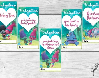 Trolls Valentine's Day Card Printables (INSTANT DOWNLOAD)