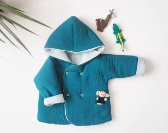 "Baby réversible ""Lutin"" jacket, Canard, made in France, kimono sleeve, Double gauze"