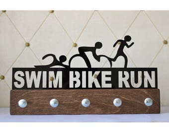 Triathlon Medal Holder,Medal Display,Swim Bike Ride Medal Holder,Sport Gift,Sport Medal Hanger,Medal Organizer, Ironman