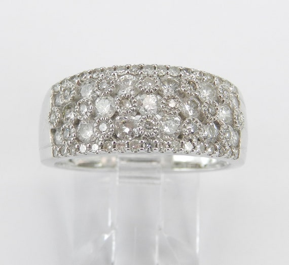 White Gold 1.00 ct Diamond Anniversary Band Cluster Cocktail Wedding Ring Stackable Size 7