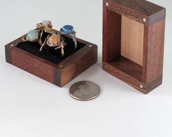 Reclaimed Walnut, Maple Ring Box, 4 Rings, Ring Bearer Pillow Box