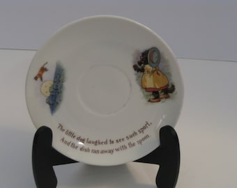 """Vintage nursery rhyme porcelain china saucer-""""The cow jumped over the moon"""""""