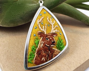 Deer Necklace, Embroidery Necklace, Deer Jewelry, Animal Necklace, Stag Necklace, Deer Gift, Animal Lover Gift, Woodland Jewelry