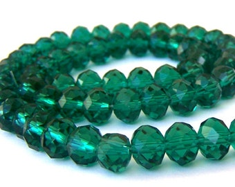 24 emerald green 8mm beads, 8mm green crystal rondelles, Chinese crystal