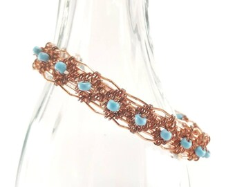 Copper and turquoise woven wire bracelet
