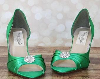 Wedding Shoes -- Green Kitten Heel Peep Toe Wedding Shoes with Simple Rhinestone Adornment
