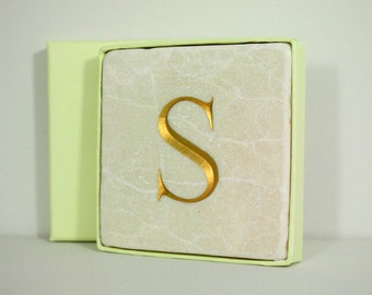 Hand Carved Gold Letter 'S' in Stone Wall Tile.  Personalised Gift.  Wall Hanging. Decorative Arts.  Letter Carving
