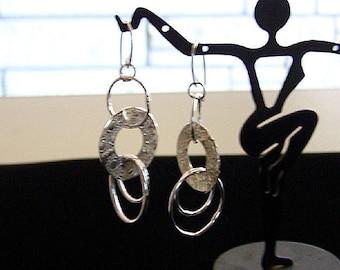 Sun Patterned Sterling Silver Handmade Hoop Earrings by Sapphireskies