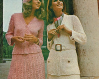 Vintage Women's Knitting Pattern - Ladies 2 piece outfit with options - 70s - instant download PDF - 1970s knitting pattern - retro