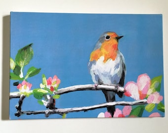 robin red breast- on canvas a4 size