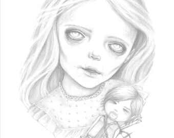 A creepy cute zombie girl with her Daryl Dixon doll, an A6 postcard