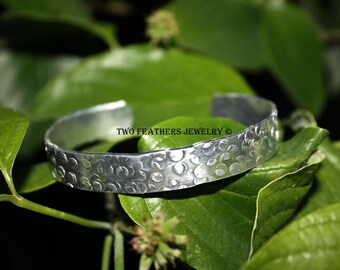 Textured Metal Cuff Bracelet - Circle Pattern - Silver Cuff - Hammered Cuff - Rough Textured Bracelet - Aluminum Cuff - Metal Jewelry
