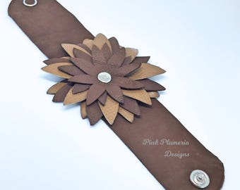 Leather Flower Cuff, Women's Leather Bracelet, Floral Bracelet