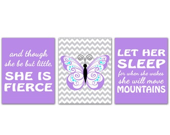 Purple Nursery Wall Art Prints Let Her Sleep For When She Wakes And Though She Be But Little She is Fierce Chevron Butterfly Decor (177ab)