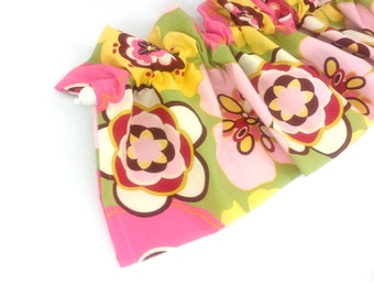 CLEARANCE - was 28 ROSIE Valance Curtains Pink Yellow Maroon Large Flowers Girls 43 inches wide