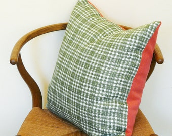 CLEARANCE! Vintage Hot Pink Tweed & Houndstooth Pillow Cover