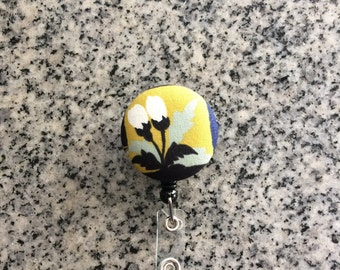 Floral retractable ID Badge holder, flower, Nurses badge, fabric badge reel, ID clip, badge clip