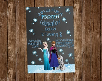 Frozen Anna Elsa & Olaf Birthday Invitation