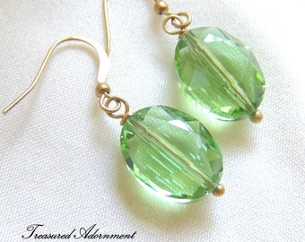 READY TO SHIP, Green Crystal Dangle Earrings, Raw Brass Vintage Style Earrings, Birthday gift for her, Bridesmaid earrings, Spring earrings