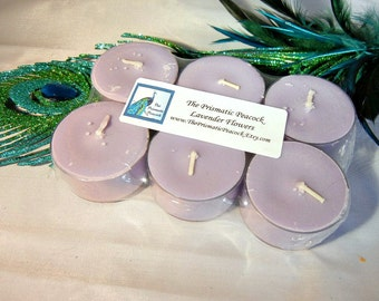 Lavender Flowers Scented Soy Tea Light Candles 6 pack Purple