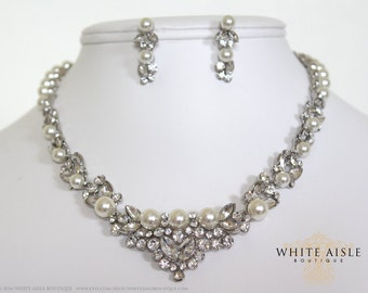 Pearl Necklace, Pearl Bridal Jewelry Set, Statement Necklace, Vintage Inspired Pearl Necklace, Pearl Earrings, Wedding Jewelry Set