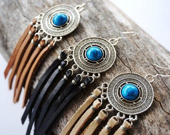 Turquoise Tibetan Earrings - Tibetan Jewelry - Festival Jewelry - Boho Leather Fringe Earring - Tan Leather Fringe Earring -  Ethnic Jewelry