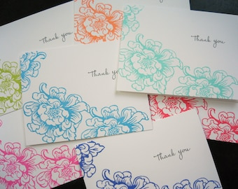 Floral Thank You Note Cards Set of 7