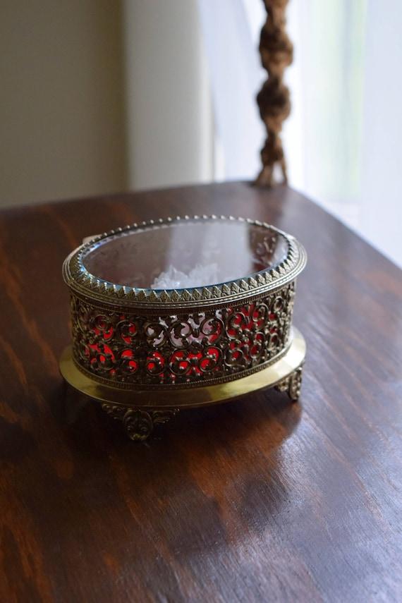 Small Vintage Beveled Glass Gold Ormolu Casket Jewelry Box~ Hollywood Regency, Mid Century, Victorian