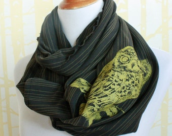 Screech Owl Infinity Scarf for him or her in gold on olive stripe organic cotton hand printed, American grown and sewn
