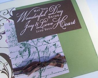 Wedding Card - Wedding Day Card with Script - Happy Wedding Day - Wedding Congratulations - Green and Purple Wedding Card - Handmade Cards