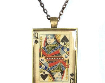 Vintage ephemera shabby chic queen of spades glass pendant NECKLACE in ANTIQUE BRASS